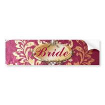 rustic fuchsia gold damask wedding bumper sticker