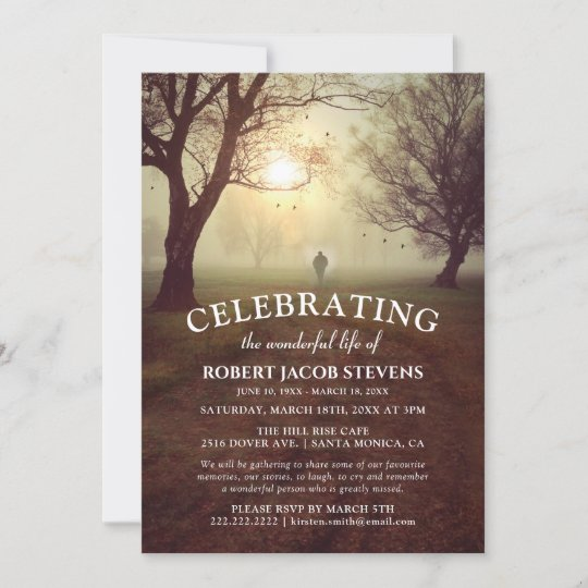 Rustic Funeral | Celebrating Life Memorial Photo Invitation
