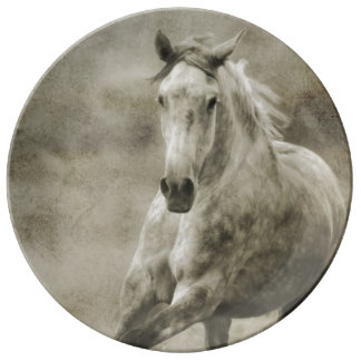 Rustic Galloping Andalusian Horse Dinner Plate