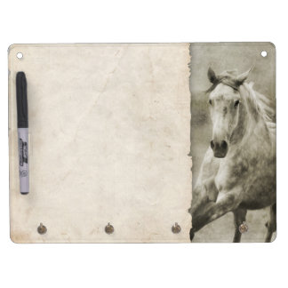 Rustic Galloping Andalusian Horse Dry Erase Board With Keychain Holder