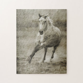 Rustic Galloping Andalusian Horse Jigsaw Puzzle