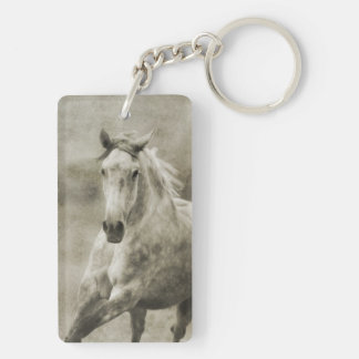 Rustic Galloping Andalusian Horse Keychain