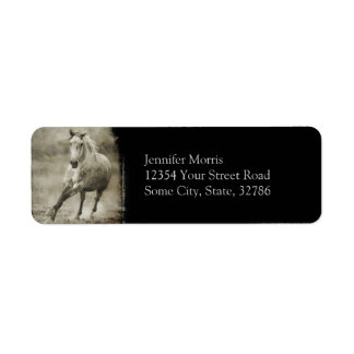 Rustic Galloping Andalusian Horse Label