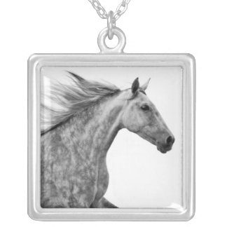 Rustic Galloping Andalusian Horse Square Pendant Necklace