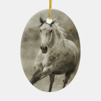 Rustic Galloping Andalusian Horse Double-Sided Oval Ceramic Christmas Ornament