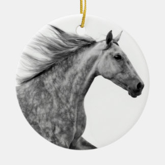 Rustic Galloping Andalusian Horse Double-Sided Ceramic Round Christmas Ornament