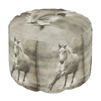 Rustic Galloping Andalusian Horse Pouf