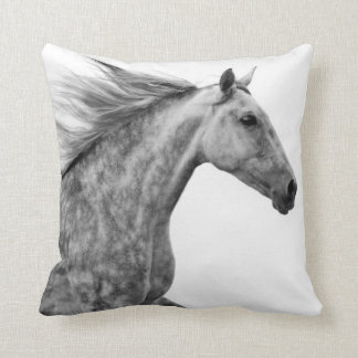 Rustic Galloping Andalusian Horse Throw Pillow
