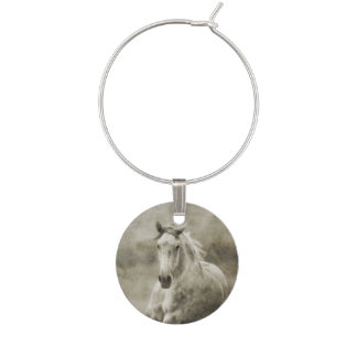 Rustic Galloping Andalusian Horse Wine Glass Charm