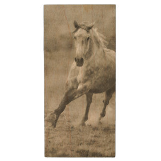 Rustic Galloping Andalusian Horse Wood Flash Drive