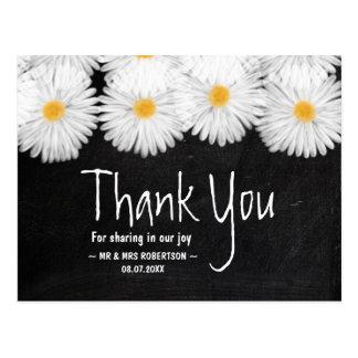 Rustic garden daisies chalkboard wedding thank you postcard