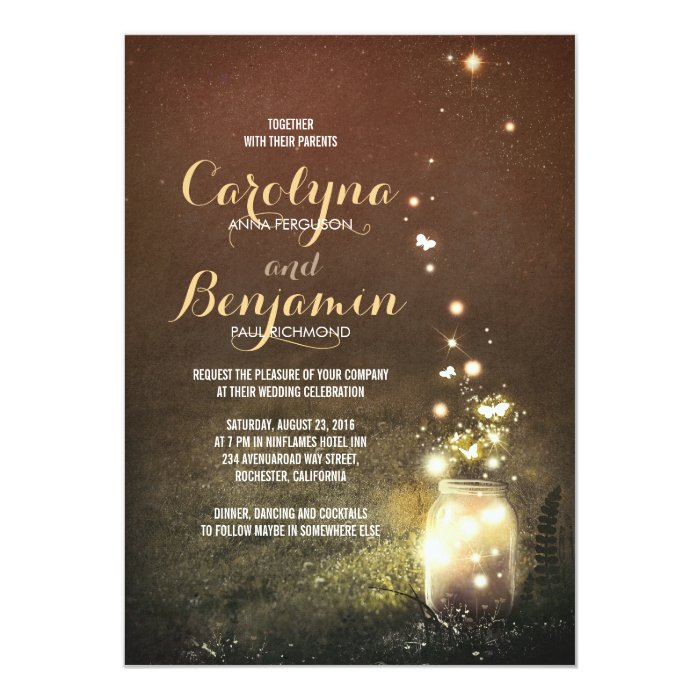 Together With Their Parents Wedding Invitation: Fireflies Mason Jar Wedding Card