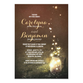 Rustic Garden Lights - Fireflies Mason Jar Wedding Invitation