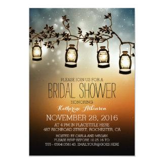 rustic garden lights - lanterns bridal shower card