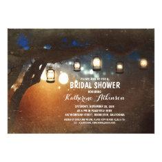rustic garden lights lanterns bridal shower invite