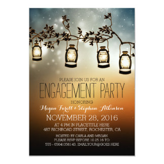 rustic garden lights - lanterns engagement party 5x7 paper invitation card