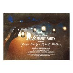 rustic garden lights lanterns engagement party custom announcement