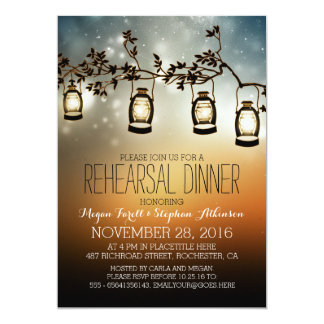 rustic garden lights - lanterns rehearsal dinner card