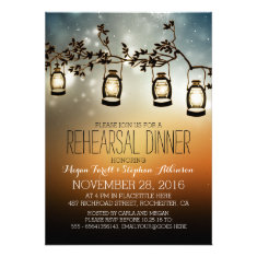 rustic garden lights - lanterns rehearsal dinner invite