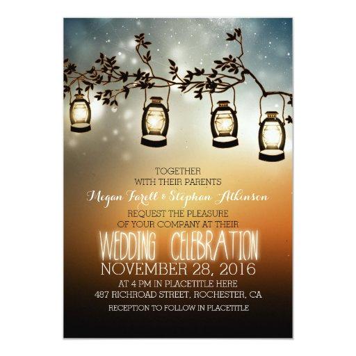 rustic garden lights  lanterns wedding invitation  Zazzle