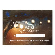 rustic garden lights outdoor wedding RSVP cards