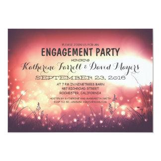 Rustic Garden Lights Romantic Engagement Party Card