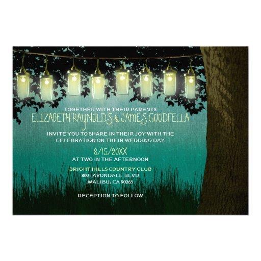 Rustic Backyard Wedding Invitations : Rustic Garden Lights Wedding Invitations Invites  Zazzle