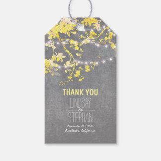 Rustic Garden String Lights Branch Yellow Wedding Gift Tags