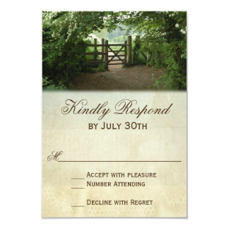 Rustic Gate Nature Trail Country Wedding RSVP Card