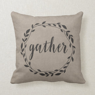 Rustic Gather Script with Vine Wreath & Polka dots Throw Pillow