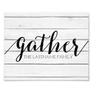 Rustic Gather - Shiplap Wood with Custom Family Photo Print