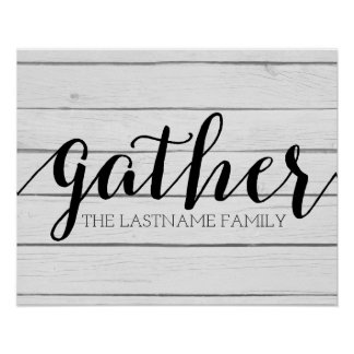 Rustic Gather - Shiplap Wood with Custom Family Poster