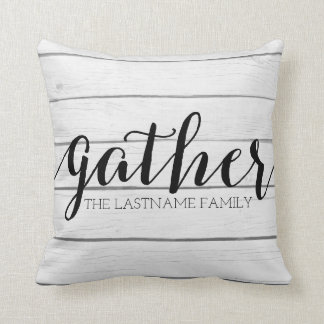Rustic Gather - Shiplap Wood with Custom Family Throw Pillow