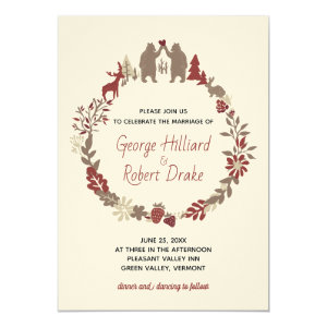 Rustic Gay Bears Woodland Wedding Invitation