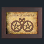 """Rustic Gay Wiccan Handfasting Keepsake Gift Memory Box<br><div class=""""desc"""">Rustic pentacle gay Wiccan Wedding gift keepsake box. The symbol doubles as a Wiccan pentacle and the universally recognized logo for males. It's worth looking inside,  as there's a legend there naming the couple and providing the date of their union. It looks gorgeous!</div>"""
