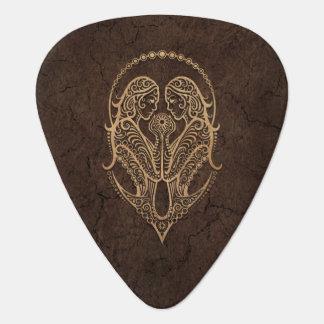 Rustic Gemini Zodiac Sign on Stone Effect Guitar Pick