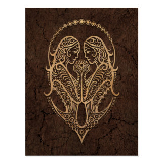 Rustic Gemini Zodiac Sign on Stone Effect Postcard