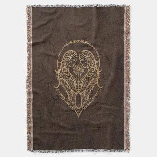 Rustic Gemini Zodiac Sign on Stone Effect Throw Blanket