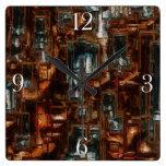 Rustic Geometric Block 3D-look Modern Art Clock