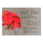 """Rustic Geranium Bridal Shower Invitations 5"""" X 7"""" Invitation Card"""