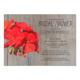 Rustic Geranium Bridal Shower Invitations