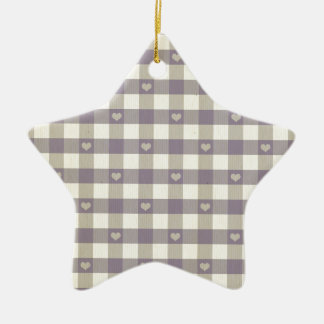 rustic gingham grey white pattern cute hearts fun Double-Sided star ceramic christmas ornament