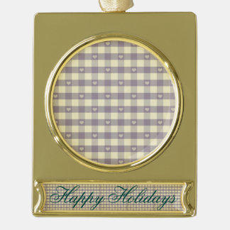 rustic gingham grey white pattern cute hearts fun gold plated banner ornament