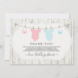 Twin Baby Boy And Girl Thank You Cards Zazzle