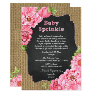 Rustic Girl Pink Floral Baby Sprinkle Invites