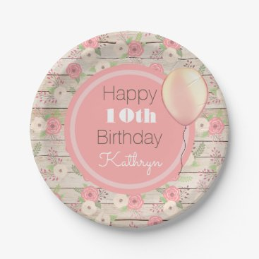 think_out_loud Rustic & Girly Birthday Paper Plate