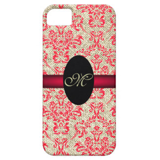 Rustic Girly Vintage Antique Red Damask and Burlap iPhone SE/5/5s Case