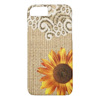 rustic girly western country sunflower burlap lace iPhone 7 case