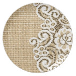 rustic girlycountry burlap and lace party plate