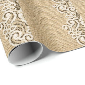 rustic girlycountry burlap and lace wrapping paper